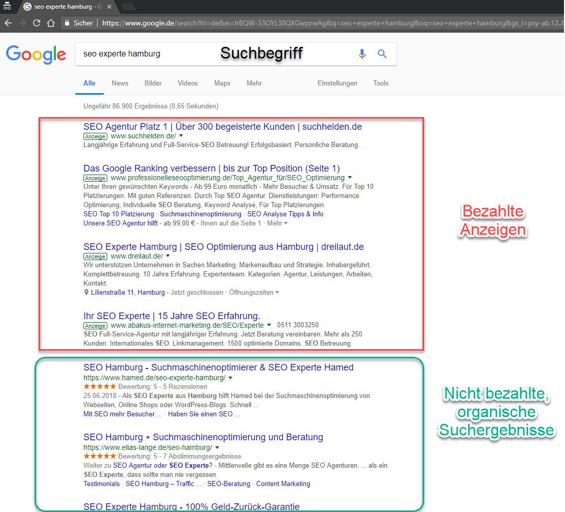 """SEO und SEA Vergleich für """"SEO Experte Hamburg"""""""
