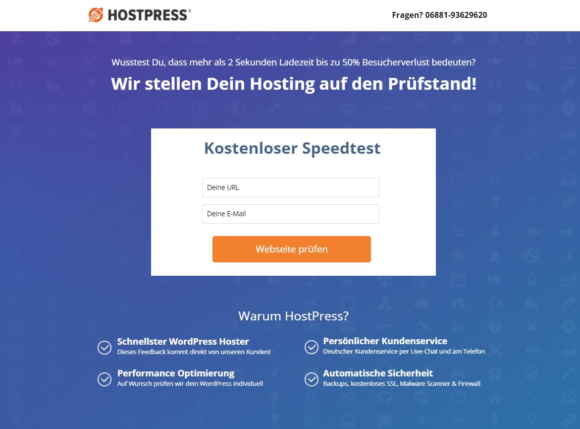 Landing Page für HostPress