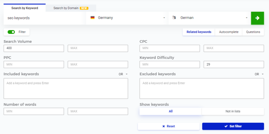 SEO Keyword Finder Filter setzen