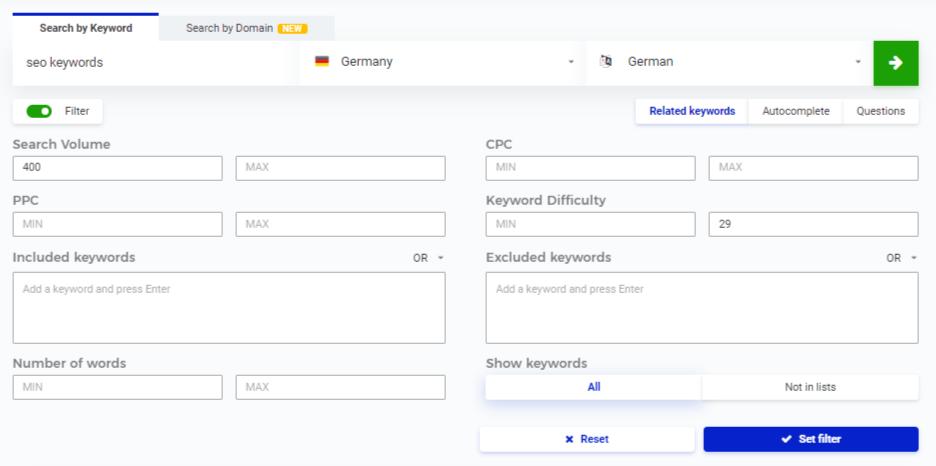 SEO Keyword Finder Filter setzen