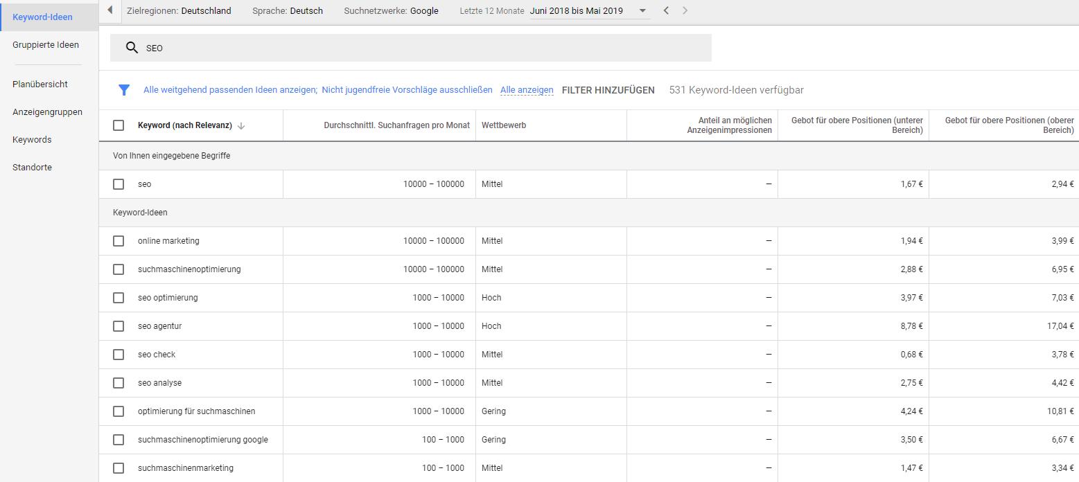 Screenshot Google SEO Keyword Planner Suchbegriffe