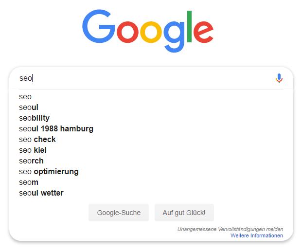 Screenshot Google Suche SEO Autocomplete für Keyword Recherche