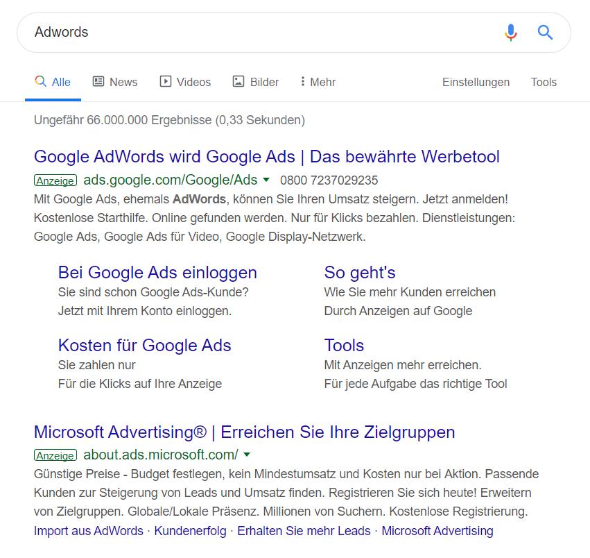 Adwords Suchergebnis